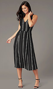 Image of striped knee-length casual party dress. Style: EM-HLD-4219-020 Front Image