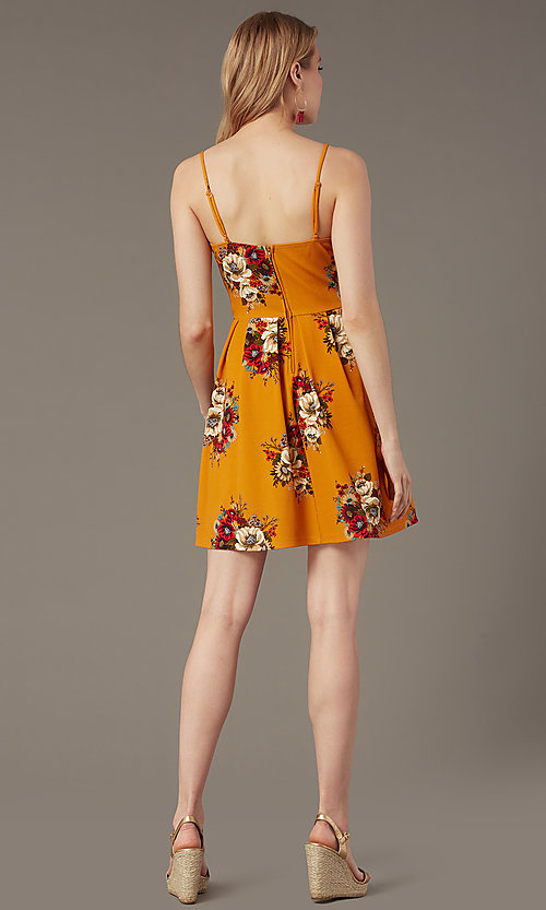 Image of short floral-print v-neck summer party dress. Style: EM-HKB-4187-711 Back Image