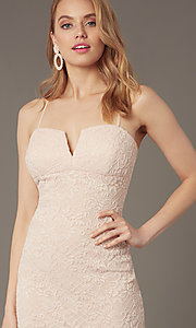 Image of empire-waist short lace wedding-guest dress. Style: EM-FWD-3831-690 Detail Image 1