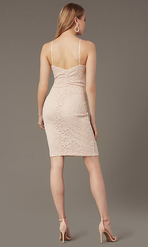 Image of empire-waist short lace wedding-guest dress. Style: EM-FWD-3831-690 Back Image