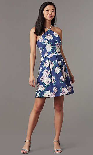 Short Floral Print Wedding Guest Dress
