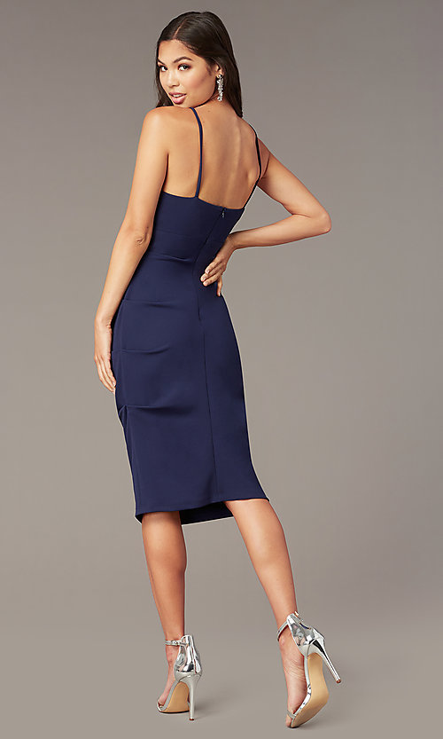 Image of knee-length wedding-guest sheath dress. Style: JU-11302 Detail Image 6