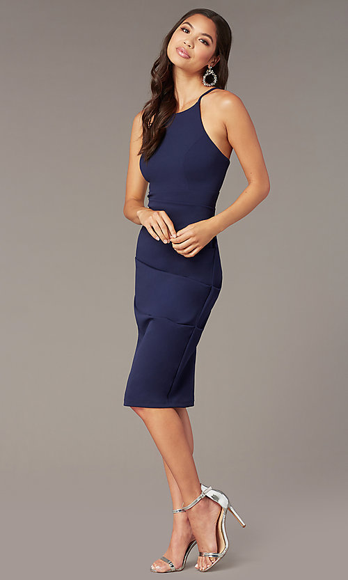Image of knee-length wedding-guest sheath dress. Style: JU-11302 Detail Image 5