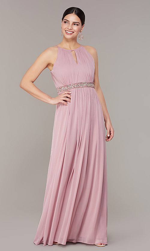 Image of rose pink long formal prom dress with beaded waist. Style: JU-ON-650461 Front Image