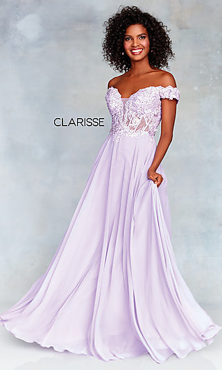 Clarisse Prom Dress with a Sheer Embroidered Bodice