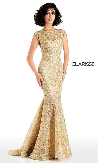 Beaded Lace Designer Prom Dress by Clarisse