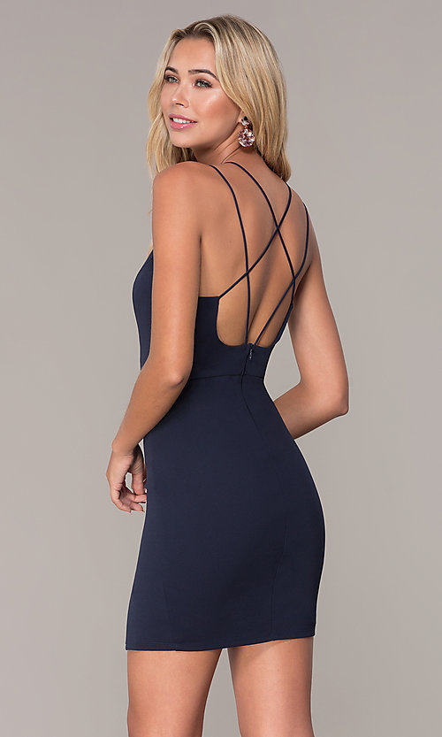 Image of short v-neck navy blue party dress by Simply. Style: MCR-SD-2541n Back Image