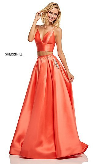 A-Line Two-Piece Prom Dress with Beaded Pockets