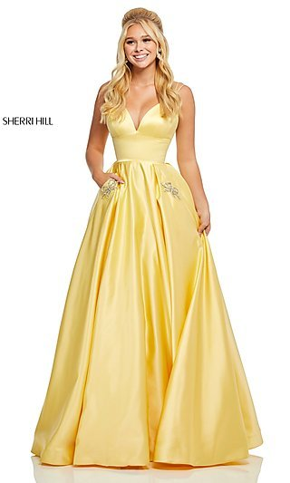 Classic Satin A-Line Prom Dress with Beaded Pockets