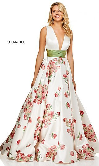 Long A-Line Print Prom Dress with a Ruched Waist