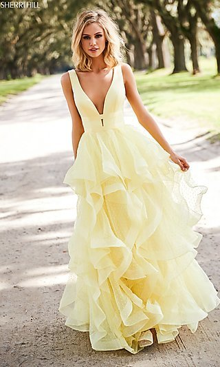 Long V-Neck A-Line Prom Dress with a Ruffled Skirt