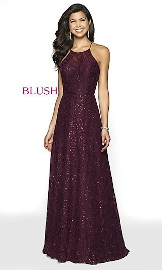 Long Sequin Lace Designer Prom Dress by Blush
