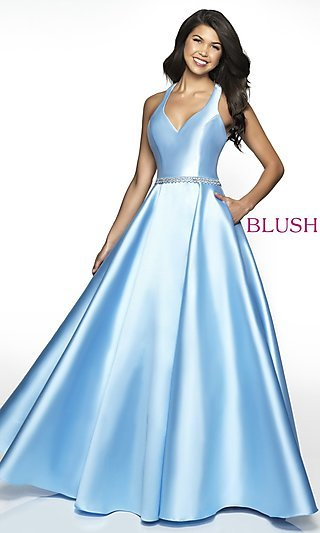 Long Racerback A-Line Prom Dress with Pockets