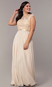 Image cap-sleeve embroidered-bodice plus-size prom dress. Style: DQ-2121P Detail Image 1