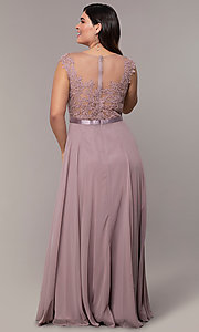 Image cap-sleeve embroidered-bodice plus-size prom dress. Style: DQ-2121P Detail Image 4