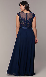 Image cap-sleeve embroidered-bodice plus-size prom dress. Style: DQ-2121P Detail Image 6