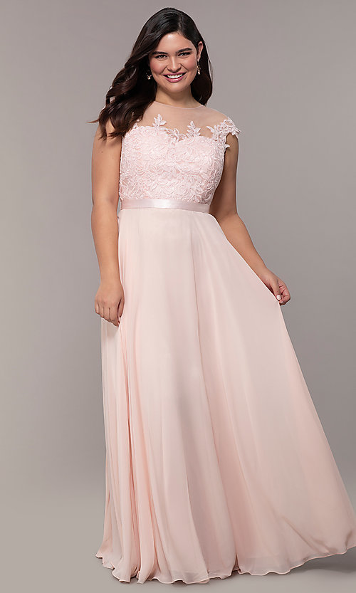 Image cap-sleeve embroidered-bodice plus-size prom dress. Style: DQ-2121P Front Image