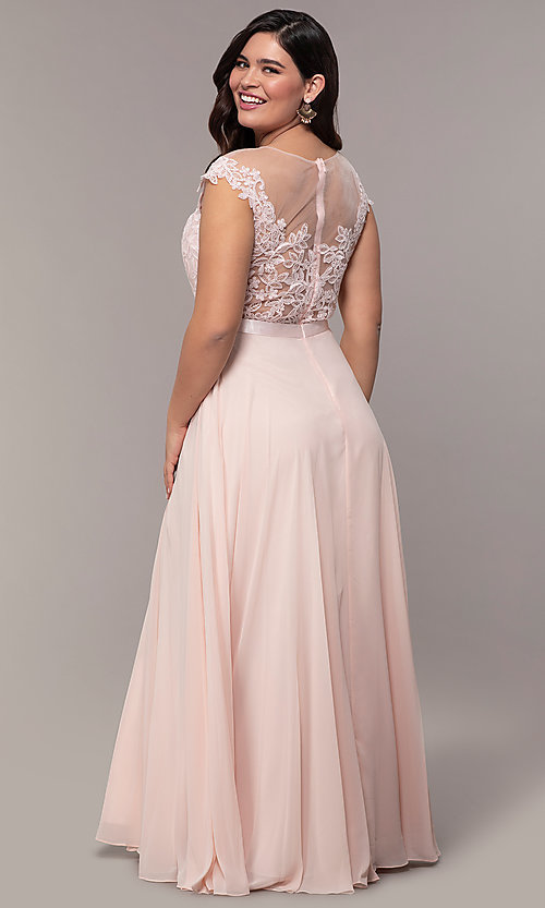 Image cap-sleeve embroidered-bodice plus-size prom dress. Style: DQ-2121P Back Image