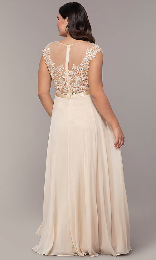 Image cap-sleeve embroidered-bodice plus-size prom dress. Style: DQ-2121P Detail Image 2