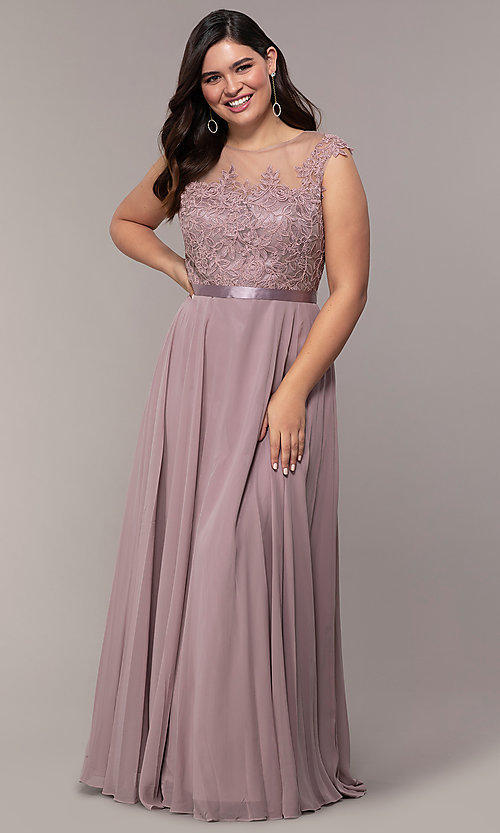 Image cap-sleeve embroidered-bodice plus-size prom dress. Style: DQ-2121P Detail Image 3