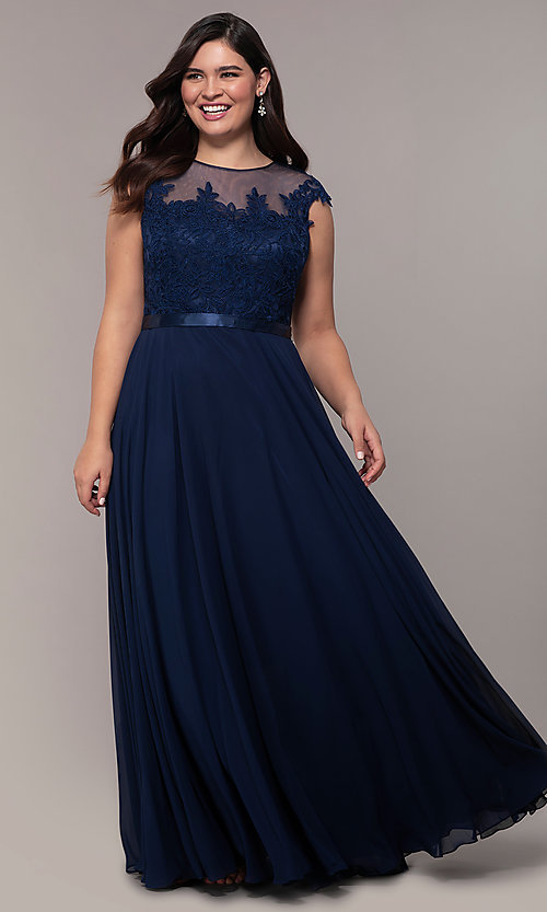 Image cap-sleeve embroidered-bodice plus-size prom dress. Style: DQ-2121P Detail Image 5
