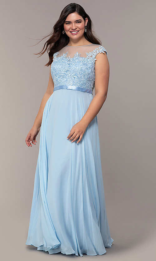 Image cap-sleeve embroidered-bodice plus-size prom dress. Style: DQ-2121P Detail Image 7