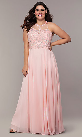 Long Plus-Size Embroidered Bodice Prom Dress