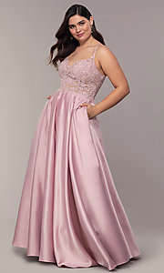 Image of v-neck embroidered-bodice long plus-size prom dress. Style: DQ-2459P Detail Image 6