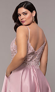 Image of v-neck embroidered-bodice long plus-size prom dress. Style: DQ-2459P Detail Image 2