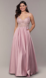 Image of v-neck embroidered-bodice long plus-size prom dress. Style: DQ-2459P Detail Image 3