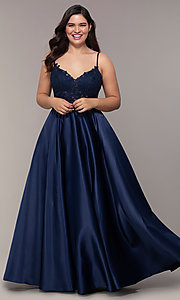 Image of v-neck embroidered-bodice long plus-size prom dress. Style: DQ-2459P Detail Image 8