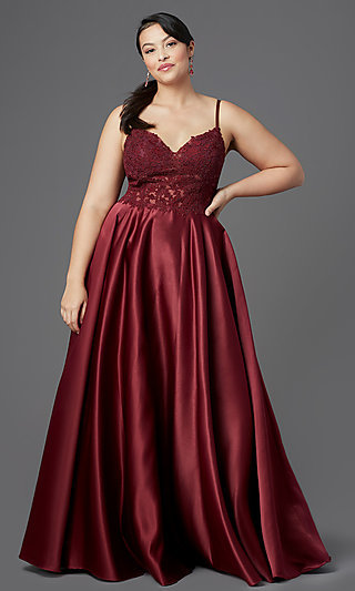 V-Neck Embroidered-Bodice Long Plus-Size Prom Dress