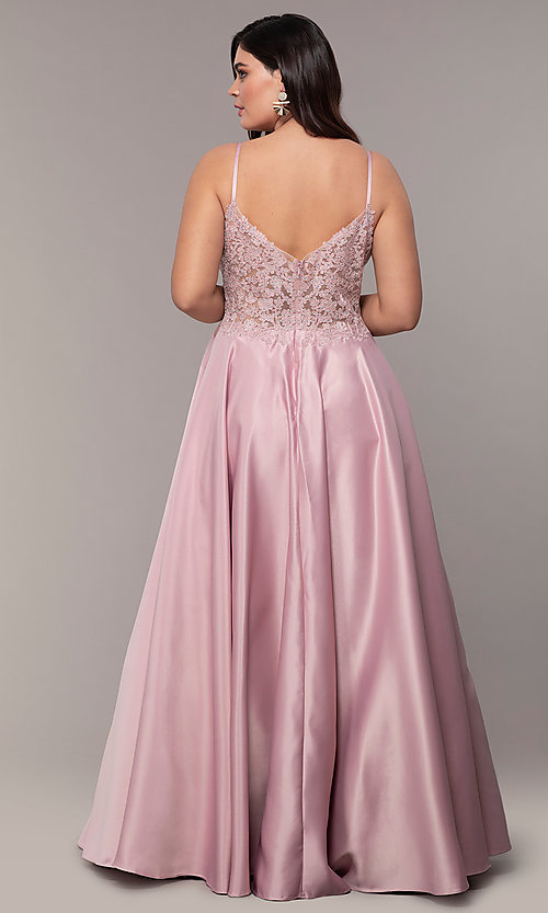 Image of v-neck embroidered-bodice long plus-size prom dress. Style: DQ-2459P Detail Image 7