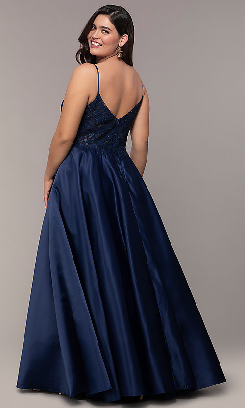 Image of v-neck embroidered-bodice long plus-size prom dress. Style: DQ-2459P Back Image