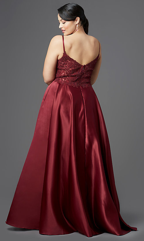 Image of v-neck embroidered-bodice long plus-size prom dress. Style: DQ-2459P Detail Image 4
