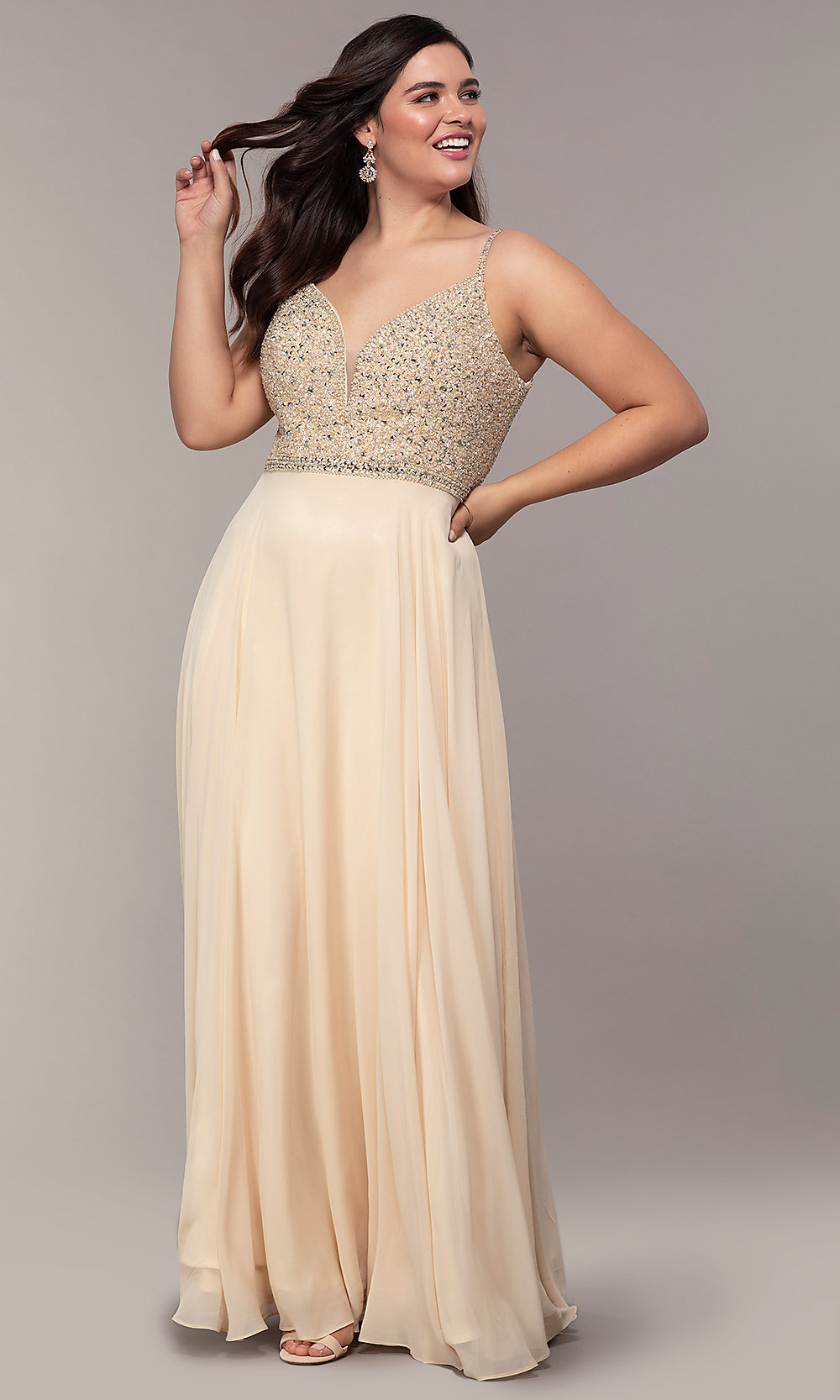 Beaded-Bodice V-Neck Plus-Size Prom Dress - PromGirl