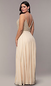 Image of chiffon plus-size prom dress with beaded bodice. Style: DQ-2493P Back Image