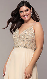 Image of chiffon plus-size prom dress with beaded bodice. Style: DQ-2493P Detail Image 1