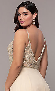 Image of chiffon plus-size prom dress with beaded bodice. Style: DQ-2493P Detail Image 2