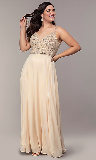Chiffon Plus-Size Prom Dress with Beaded Bodice