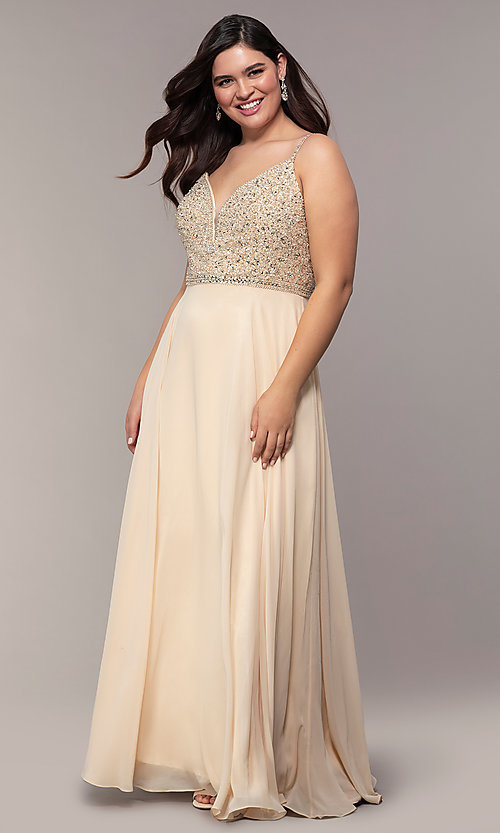 Image of chiffon plus-size prom dress with beaded bodice. Style: DQ-2493P Detail Image 3