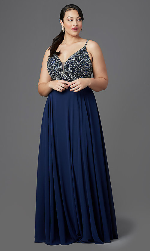 Image of chiffon plus-size prom dress with beaded bodice. Style: DQ-2493P Front Image