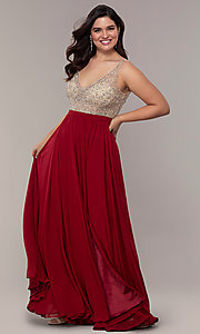 Image of long v-neck beaded-bodice plus-size prom dress. Style: DQ-2569P Detail Image 1