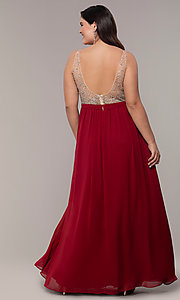 Image of long v-neck beaded-bodice plus-size prom dress. Style: DQ-2569P Detail Image 2