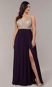 Image of long v-neck beaded-bodice plus-size prom dress. Style: DQ-2569P Detail Image 3