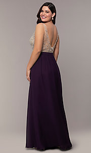 Image of long v-neck beaded-bodice plus-size prom dress. Style: DQ-2569P Detail Image 4