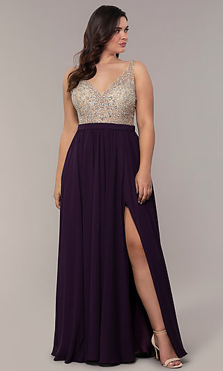 Long V-Neck Beaded-Bodice Plus-Size Prom Dress
