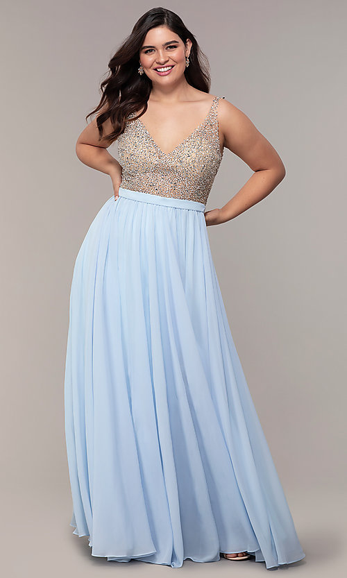 Image of long v-neck beaded-bodice plus-size prom dress. Style: DQ-2569P Front Image