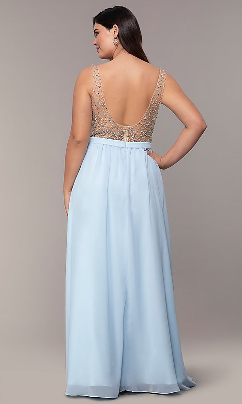 Image of long v-neck beaded-bodice plus-size prom dress. Style: DQ-2569P Back Image