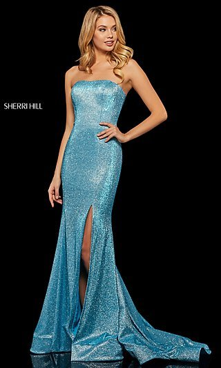 Sherri Hill Metallic Mermaid-Style Prom Dress